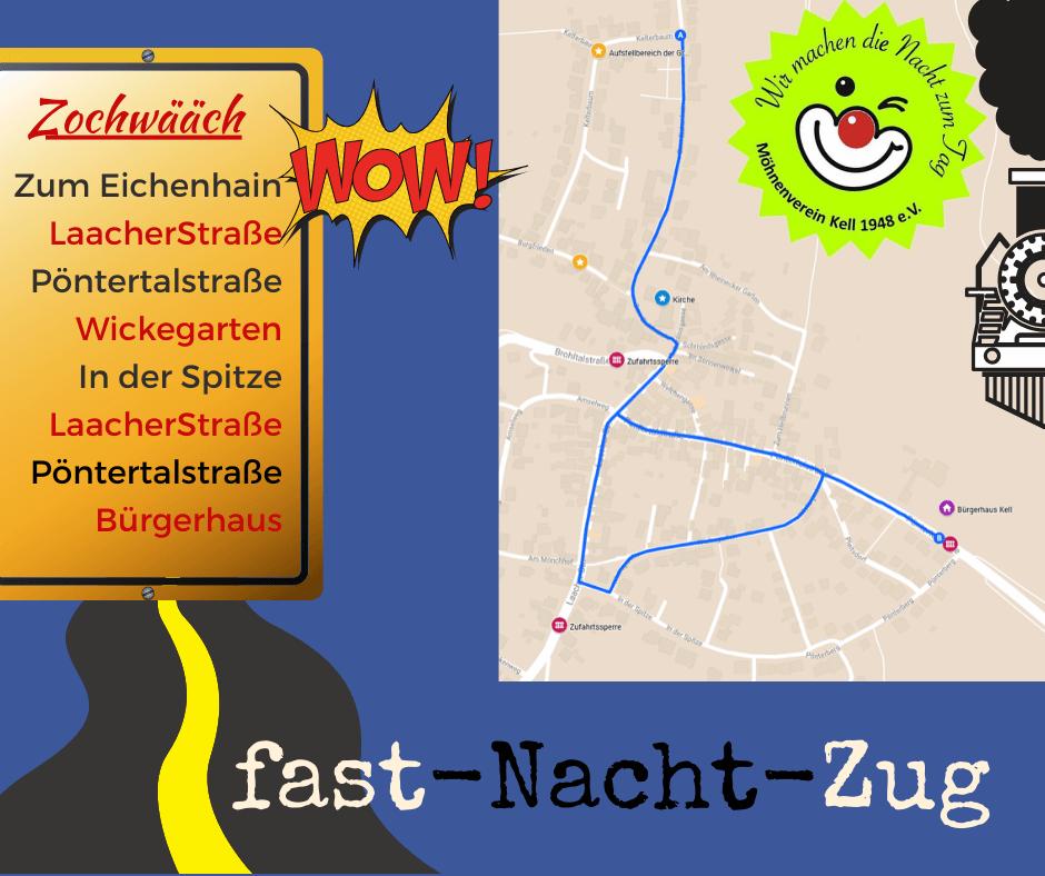 Zugweg fast-Nacht-Zug in Kell 2020
