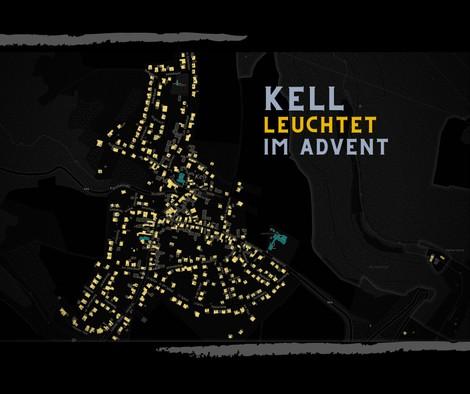 Karte von Kell bei Nacht